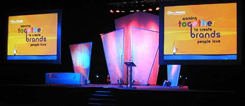 A set made of two front projection screens, some gauze frames and lighting. Birmingham ICC.