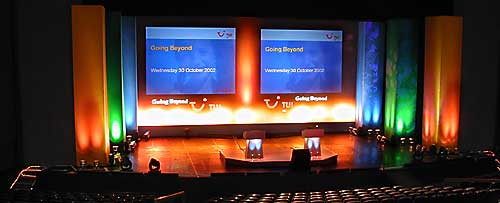 TUI conference in a large auditorium at Universal Studios, Barcelona.